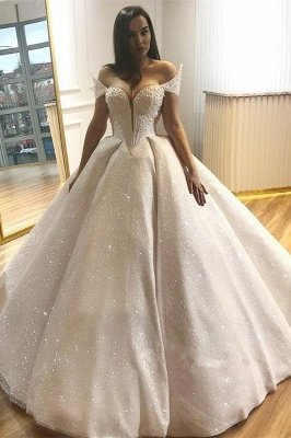 Popular Off The Shoulder Beading Wedding Dresses Cheap | Sexy Sequins Ball Gown Wedding Dresses Online