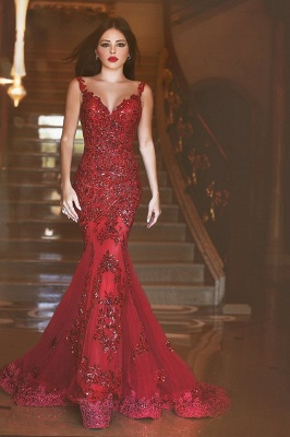Ruby Hottest Crystal Trumpet Evening Dress Vintage Spaghetti Strap Tulle Long Formal Occasion Dress_1