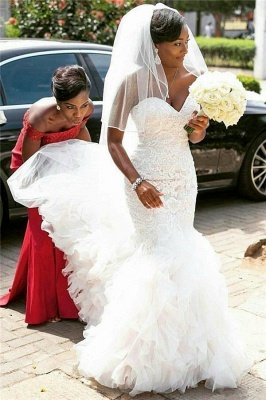 Sweetheart Mermaid Tulle Ruffles Wedding Dresses Online   Cheap Lace Wedding Gowns