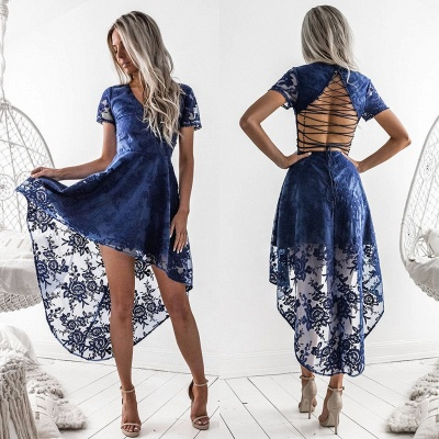 Elegant Short Sleeve Lace Homecoming Dress Hi-Lo Party Gowns_6