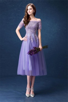 ADILYNN | A-line Bateau Tulle Prom Dress with Appliques_4