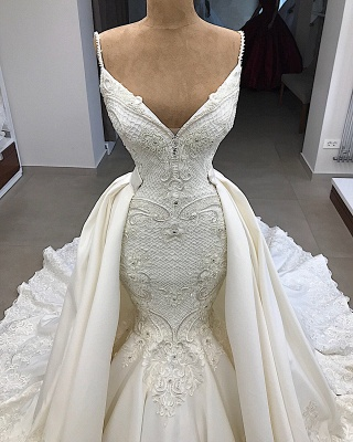 Spaghetti Straps Lace Fit and Flare Wedding Dresses Overskirt |  Appliques Detachable Satin Backless Bridal Gowns BC0776_3
