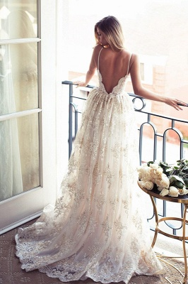 Elegant Sweetheart-Neck Lace Backless Princess Wedding Dresses | Spaghettis-Straps Bridal Gowns Online_2