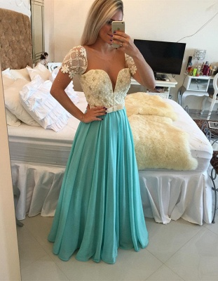 Modest A-line Chiffon Lace Pearls Short-Sleeve Prom Dress