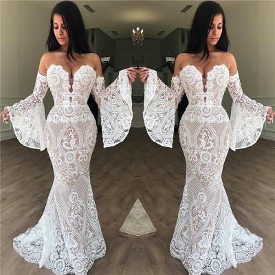 Wunderschöne Weiße Abendkleider Schulterfrei | Spitze Abendkleid Meerjungfrau Lang_3