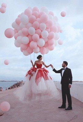 2021 Sweetheart Red Puffy Tulle Robes de soirée sexy | Robes de bal sans manches à plusieurs niveaux pas cher en ligne_5