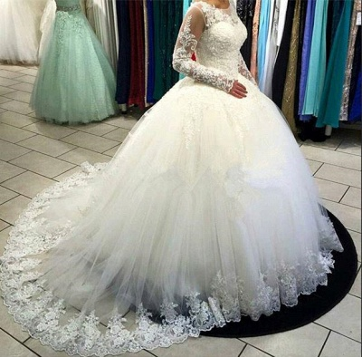 Long Sleeve Lace Ballkleid Brautkleid Tüll Sweep Zug Brautkleider_4