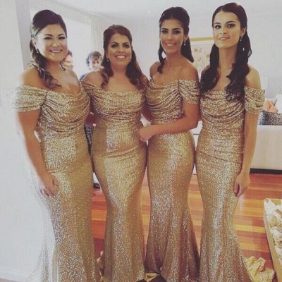 Gold Sequins Bridesmaid Dresses Off the Shoulder Sexy Mermaid Maid of the Honor Dresses BA3186_3