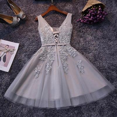 Silver Grey Lace Homecoming Dress Cheap   Sleeveless Tulle Short Hoco Dress_2