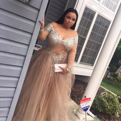 Delicate Plus-Size Stunning Long-Sleeve Tulle Split Crystal Prom Dress_4