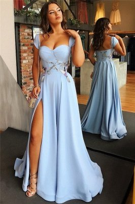 Cap Sleeves Open Back Blue Evening Dress Cheap | Sexy Side Slit Appliques Prom Dresses Online_3