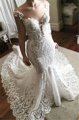 Wholesale Lace Fit and Flare Wedding Dress | Glamorous Sheer Tulle Bridal Gowns with Buttons