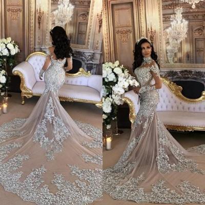 Long Sleeve Silver High Neck Popular Evening Dress Lace Mermaid Luxury Wedding Dresses BH-362_7