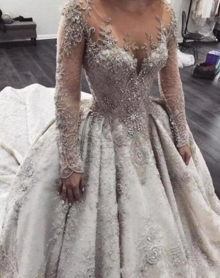 Luxury Long Sleeve Lace Wedding Dresses | Sheer Tulle Crystal Beads Dresses for Weddings