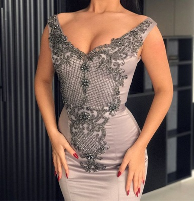 Hot V-Neck Silver Sleeveless Beaded Evening Dresses | Mermaid Beaded Appliques Evening Gowns_4