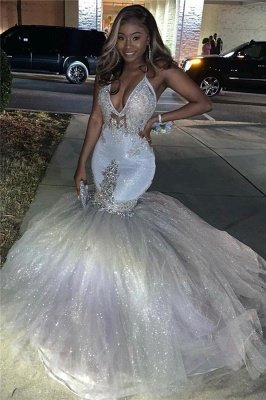 Spaghetti Straps Silver Sparkling Sequins Prom Dress Cheap | Beads Appliques Mermaid Sexy Prom Dress Online