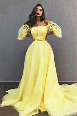 Yellow Off the Shoulder Half Sleeves Evening Dresses | New in Crystals Formal Dresses Online_1