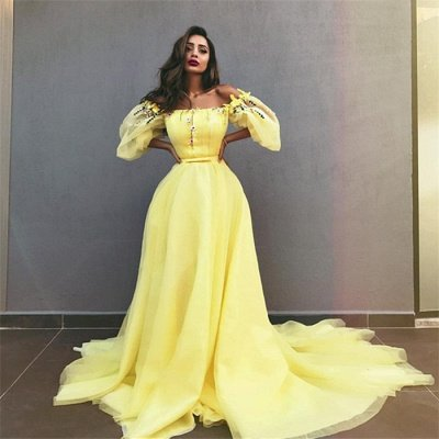 Yellow Off the Shoulder Half Sleeves Evening Dresses | New in Crystals Formal Dresses Online_3