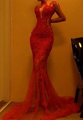 Superbe robe de soirée sirène rouge | Robe de bal en dentelle en vente_1