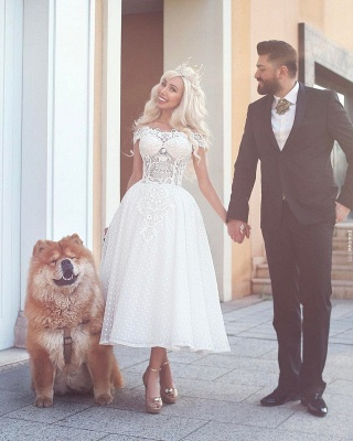 Off-the-Shoulder Ball-Gown White Wedding Dress_1