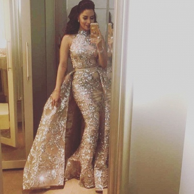 Silver Beading Lace Appliques Sexy Sleeveless Prom Dresses | Overskirt Champagne Evening Gown_4