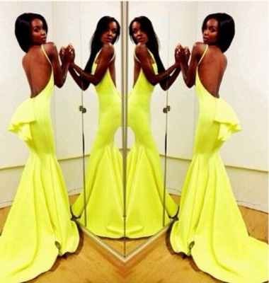 Fluorescent Green Prom Dresses High Neck Sleeveless Mermaid Sweep Train Ruffles Sexy Backless Charming Evening Gown_9