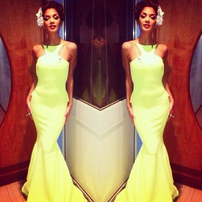 Fluorescent Green Prom Dresses High Neck Sleeveless Mermaid Sweep Train Ruffles Sexy Backless Charming Evening Gown_10