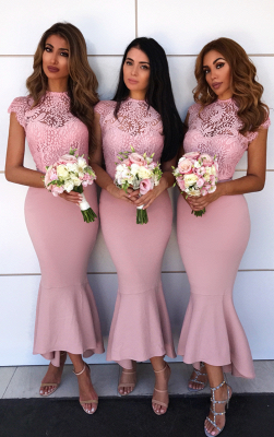 High Neck Pink Lace Bridesmaid Dresses Sexy | Cap Sleeve Mermaid Short Bridesmaid Dress Cheap ba9241_1
