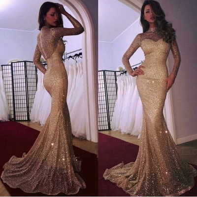 Glamorous Long Sleeve Evening Dress | 2019 Mermaid Prom Dress With Sequins_3