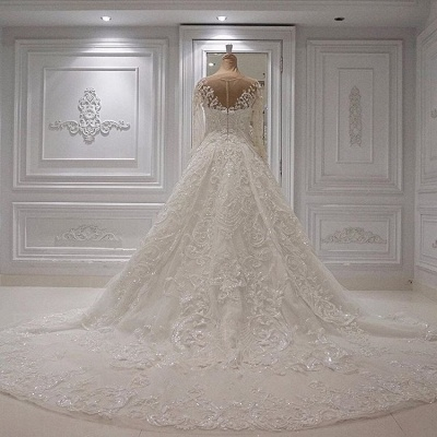 Gorgeous Crew Neck Long Sleeve Lace Appliques Wedding Bridal Dress|Elegant Ball Gown Sweep Train BC1244_3