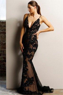 Sexy Backless Black Evening Dresses | V-neck Appliques Formal Dresses with Slit_1