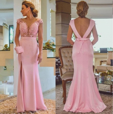 Pink Column Lace Evening Dresses | Cap Sleeves Open Back Side Slit Formal Dress_3