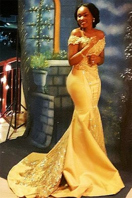 Off The Shoulder Sparkle Beads Sequined Appliques Prom Dresses | 2019 Mermaid Beads Sequins Evening Gown Cheap FB0335