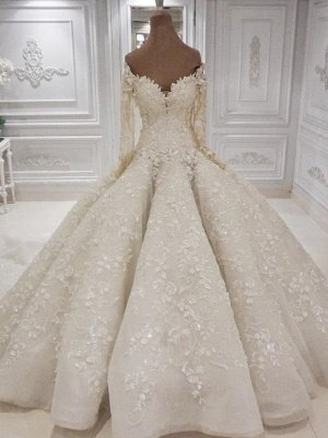 Beautiful Long sleeves V-neck  3-D flowers Ball Gown Wedding Dress