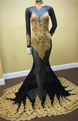 Delicate High Neck Long Sleeve Mermaid Lace Appliques Prom Dress_1