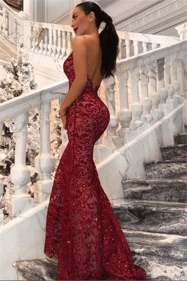 Sexy Backless Mermaid Prom Dresses Long | Cheap Red V-Neck Sleeveless Evening Dress_1