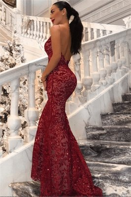 Sexy Backless Mermaid Prom Dresses Long | Red V-Neck Sleeveless Evening Dress_1