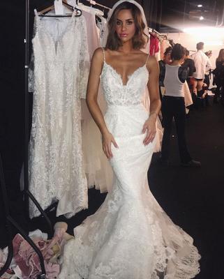 Backless Wedding Dresses Lace Mermaid   Sexy Spaghetti Straps Bride Dress Cheap_4