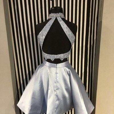 Robes de soirée mignonnes deux pièces | Robes de hoco bleu licol_3
