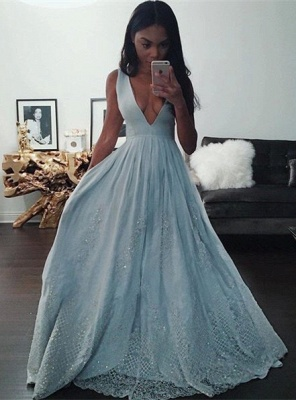 Sexy V-Neck Baby Blue Evening Dress Sequins Lace BA3638_1
