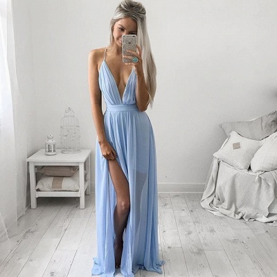 Deep V-neck Sexy Evening Dress Spaghetti Straps baby Blue Prom Dresses CE054_3
