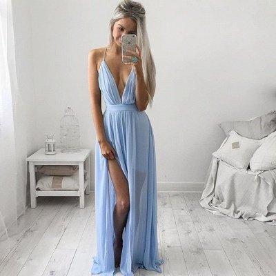Глубокий V-образным вырезом Сексуальное вечернее платье Спагетти Ремни детские синие платья выпускного вечера CE054_3