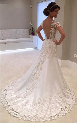 Gorgeous Mermaid Lace Long Wedding Dress_3