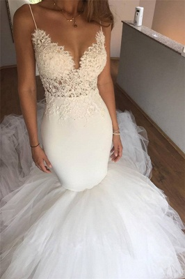 Mermaid Lace Wedding Dresses   V-neck Straps Open Back Sexy Bridal Dresses with Tulle Train_1