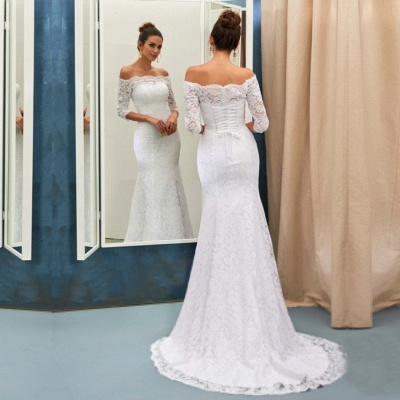 Sheath-Column Sweep-train Off-the-shoulder Half-sleeves Lace-up Simple Wedding Dress_2