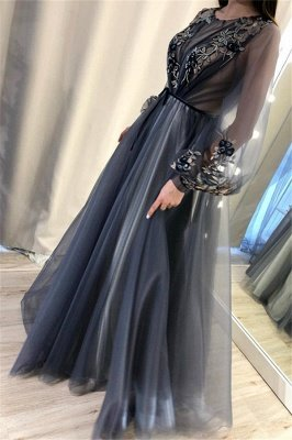 Trendy A-Line Tulle Evening Dresses | Long Sleeves Applqiues Affordable Prom Dresses_4
