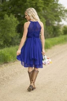 Kurze Brautjungfernkleider Neckholder | Chiffon Kleid Brautjungfer Mit Spitze_3