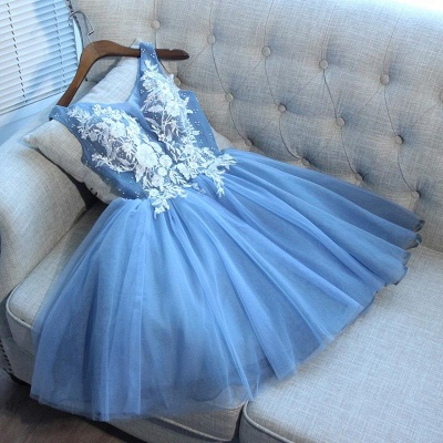 Gorgeous Blue Short Homecoming Dresses  V-Neck Lace-Up Hoco Dresses_4