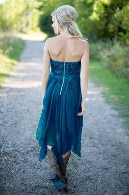 Robes de demoiselle d'honneur pays Teal de dentelle Top Tiers en mousseline de soie salut-Lo robes de soirée pour le mariage_5