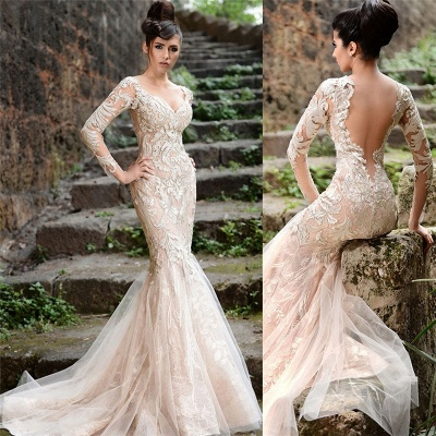 Mermaid Long Sleeve Ivory Lace Wedding Dresses | Sexy Sheer Tulle See Through Back Evening Dresses_3
